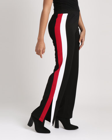 Utopia Wide Leg Pants With Side Stripe Black
