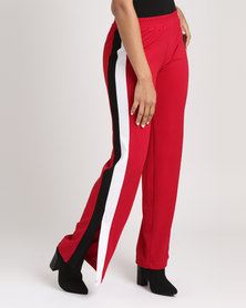 Utopia Wide Leg Pant With Side Stripe Red