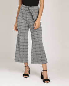 Utopia Check Wide Leg Crop With Ring Belt Pants Black/White