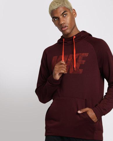 Nike Performance Mens Dry Fleece Hoodie Burgundy  f6a68f2a0fca