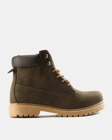 Utopia Casual Lace Up Boots Brown