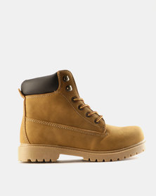Utopia Casual Lace Up Boots Camel