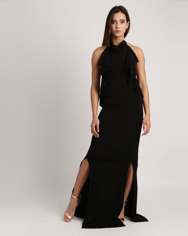 7bd8aff80ac Gert-Johan Coetzee Pin Tuck Collar Maxi Dress Black