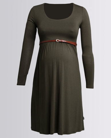 Cherry Melon Belted Scoopneck Dress Long Sleeve Military