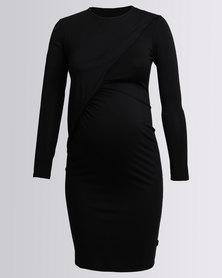Cherry Melon Jersey Crossover Draped Dress Long Sleeve Black