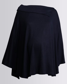 Cherry Melon Rib Cut & Sew Poncho Navy