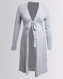 Cherry Melon Crossover Long Cardi With Tie Belt Tawny