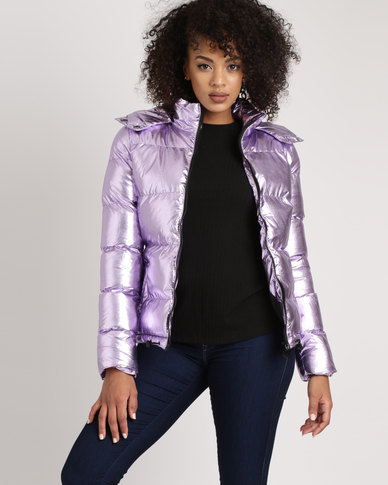 Brave Soul Two Tone Metallic PP Padded Short Jacket With Hood Lilac Purple
