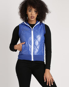 Brave Soul Diamond Quilted High Shine Gilet Royal Blue