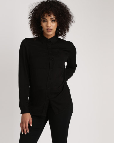 Brave Soul Longer Length Shirt With Dragon Patch Black