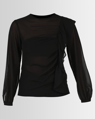 Paige Smith Frill Top Black