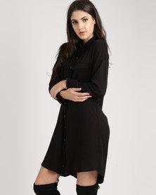 Tasha's Closet Button Down Shirt Dress Black