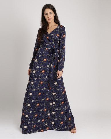 6faf629c2de Tasha s Closet Wrap Floral Maxi Dress Navy