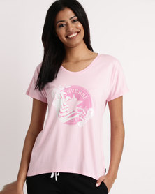 Converse Palm Print CP Fill Femme Tee Pink