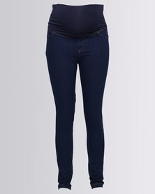 Me-A-Mama Belly Band Skinny Jeans Indigo