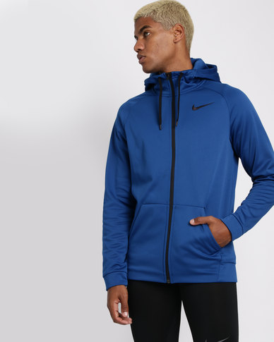 8a9b33a18 Nike Performance Men's Therma Front Zip Hoodie Blue | Zando
