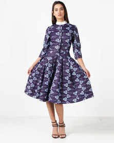 Weartloveit African Print With Contrast Collar Dress Purple