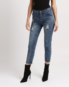 Utopia Boyfriend Style Denim Jeans Blue Wash