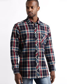 Utopia Flannel Check Shirt Navy/Blue/Red