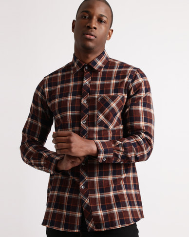 Utopia Flannel Check Shirt Brown