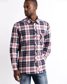 Utopia Flannel Check Shirt Cream/Black/Red