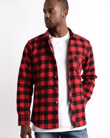 Utopia Flannel Check Shirt Black/Red L/S
