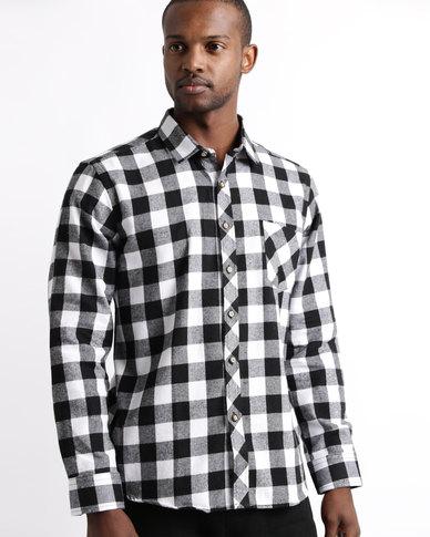 Utopia Long Sleeve Flannel Check Shirt Black/White