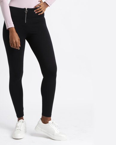 Paige Smith Ring Zip Leggings Black