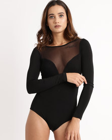 Paige Smith Mesh Long Sleeve Bodysuit Black