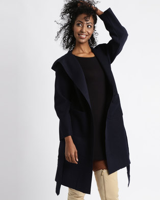 Utopia Hooded Melton Coat Navy