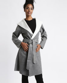 Utopia Hooded Melton Coat Grey