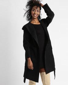 Utopia Hooded Melton Coat Black