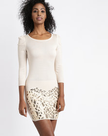 Vero Moda Leann 3/4 Sequin Dress Long Sleeve Gold