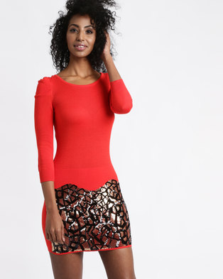 Vero Moda Leann 3/4 Sequin Dress Long Sleeve Red