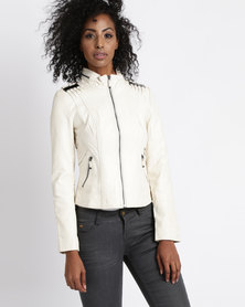 Vero Moda Antenna Cropped Pleather Jacket White