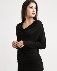 Slick Cowl Neck Top Black