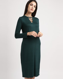 Slick Stripe Detail Dress Hunter Green