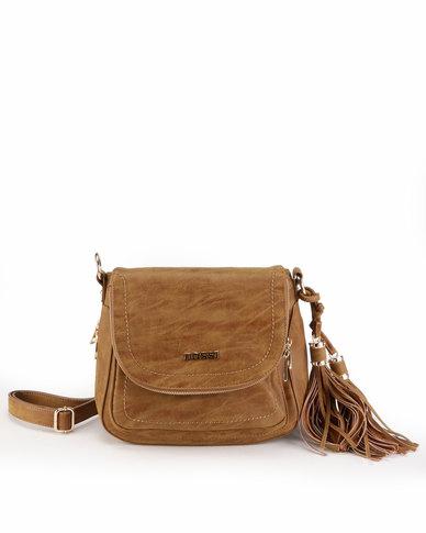 Bossi Crossbody Bag With Tassel Detail Tan