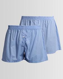 Black Lemon 2PK Boxer Shorts Light Blue Check & Light Blue
