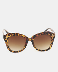 You & I Oversized Square Sunglasses Shiny Brown Tortoiseshell Brown