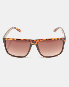 You & I Oversized Square Shiny Sunglasses Brown Tortoiseshell