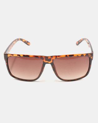 You & I Oversized Square Shiny Sunglasses Brown Tortoiseshell