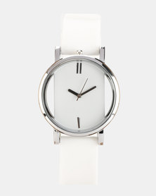 You & I See-through Silicone Watch White/Silver-tone