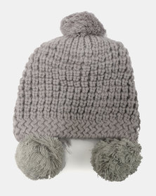 You & I Light Chunky Beanie With Triple PomPom Detailing Grey