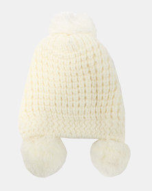You & I Light Chunky Beanie With Triple PomPom Detailing Cream