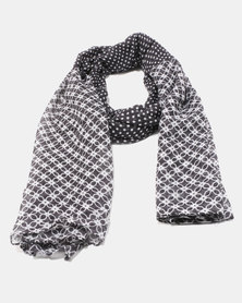 You & I Light Weight Dots & Tiles Scarf Navy & White