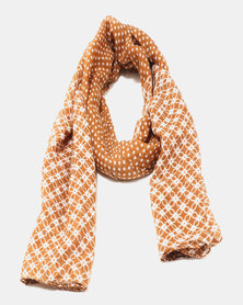 You & I Light Weight Dots & Tiles Scarf Camel & White
