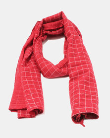 You & I Light Weight Grid Patterned Scarf Red & White