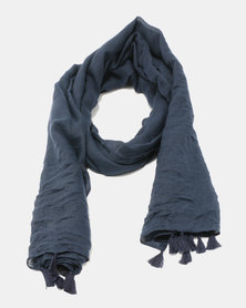 You & I Light Weight Plain Scarf With Tassel Detailing Navy
