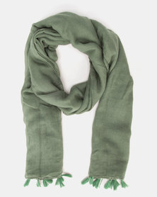 You & I Light Weight Plain Scarf With Tassel Detailing Emerald